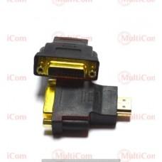 02-01-063. Переходник гнездо DVI (24+1) - штекер HDMI, gold pin, корпус пластик
