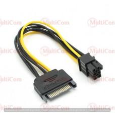 02-02-001. Кабель для видеокарт (штекер SATA 15pin - 6pin Card power), 15см