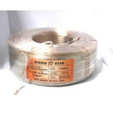 07-04-026. Кабель акустический 2x0.22мм² (2х20/0,12мм, диам-2,2x4,4мм), CU, прозрачный 100м