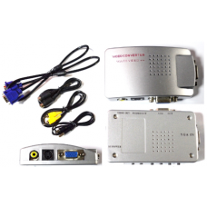 03-00-023. Конвертор VGA в AV (гнездо VGA -> AV (гнездo RCA) + гнездо VGA (OUT)), корпус пластик