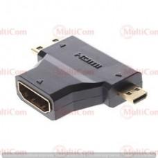 02-01-031. Переходник гнездо HDMI - штекер mini HDMI + штекер micro HDMI, gold pin
