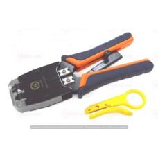 12-02-025. Инструмент обжимной для разъемов 6p4c (RJ-11); 8p8c (RJ-45), с трещёткой, Hanlong, HТ-500R