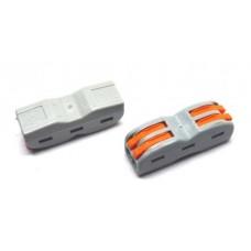 20-11-021. Клемма WAGO многоразовая проходная с рычагами 2 на 2 контакта, под кабель 0,08-2,5мм², РСТ-222
