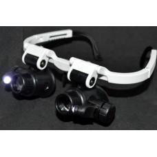 14-03-086. Лупа-очки бинокуляр налобная, 6 смен. линз, пластик: 6х; 8х; 10х; 15х; 20х; 25х, LED подсв., 9892H3