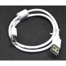 05-08-061. Шнур USB штекер A - штекер В, version 2.0, белый, 0,8м