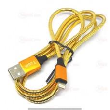 05-11-001GD. Шнур USB штекер А - штекер iPhone (Lighting), металлическая изоляция, золотистый, 1м