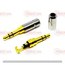 01-00-061. Штекер 3,5 стерео, мини, корпус металл, gold pin, серебристый