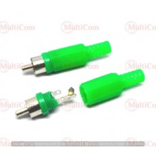 01-02-001GN. Штекер RCA, корпус пластик, с хвостовиком, зеленый