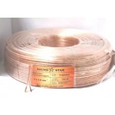 07-03-081. Кабель акустический 2х1,0мм², CCA, прозрачно-розовый, 100м