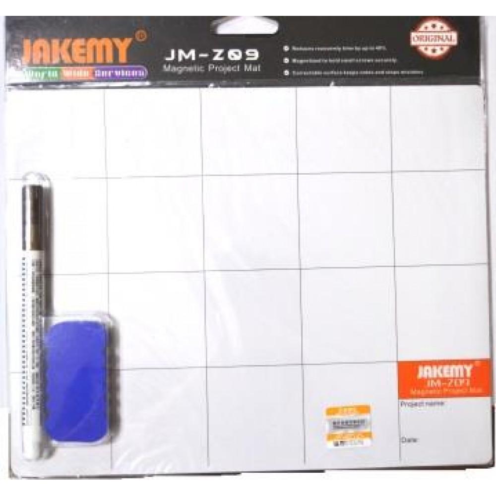 13-03-092. Мат магнитный с маркером и губкой, белого цвета, Jakemy Z09
