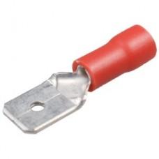 20-04-001. Клемма изолированная плоская (2,8х0,5мм) под кабель 0,5-1,5мм², штекер (М), красная, 100шт/уп