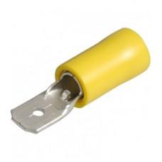 20-04-186. Клемма изолированная плоская (6,3х0,8мм) под кабель 4-6мм², штекре (М), желтая, 100шт/уп