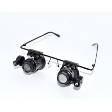14-03-085. Лупа-очки бинокуляр налобная, линзы пластик - 20х, для мелких работ, LED подсв., 9892A-II