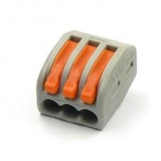 20-11-002. Клемма WAGO многоразовая с рычагами на 3 контакта, под кабель 0,08-2,5мм²