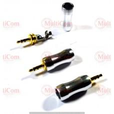 01-00-049. Штекер 3,5 стерео, корпус металл, gold pin, серебристый