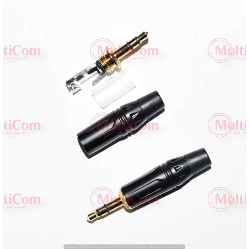 01-00-050. Штекер 3,5 стерео, корпус металл, gold pin, чёрный
