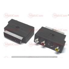 02-00-133. Переходник штекер Скарт - 3 гнезда RCA + гнездо S-Video, с переключючателем (IN-OUT)