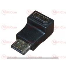 02-01-001. Переходник штекер HDMI - гнездо HDMI, угловой, gold pin, корпус пластик