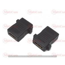 02-01-013. Переходник гнездо HDMI - гнездо HDMI, gold pin, короткий, корпус пластик, в блистере