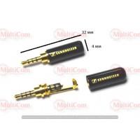 01-00-022. Штекер 2,5 4-х контактный, корпус металл, gold pin, Sennheiser, черный
