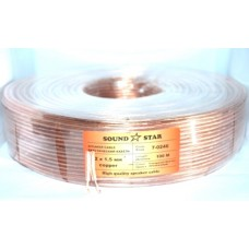 07-04-101. Кабель акустический 2х1,5мм², CU, прозрачно-розовый, 100м