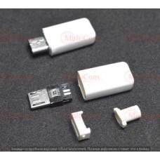01-08-072. Штекер micro USB 5pin под кабель, корпус бакелит, белый