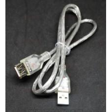 05-08-001. Шнур USB штекер A - гнездо А, version 2.0, прозрачный, 0,8м