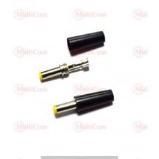 01-13-074. Штекер питания 5,5*2,1мм (жёлтый наконечник) под кабель, длина-14мм, корпус бакелит