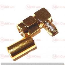 01-11-065. Штекер SMA (реверсный) (RG-58) угловой под кабель, обжимной, латунь