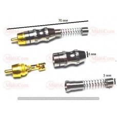 01-02-009. Штекер RCA, корпус металл, gold pin, с длинной пружиной, серебристый