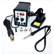 13-00-054. Паяльная станция 878D, с дисплеем, паяльник+фен, 700W, 100-450°C, EXtools
