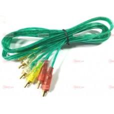 05-00-076. Шнур 3RCA - 3RCA (штекер-штекер), прозрачно-зеленый, 1,5м