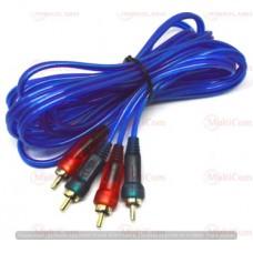 05-00-011. Шнур 2RCA - 2RCA (штекер-штекер), gold pin, прозрачно-синий, 1,5м
