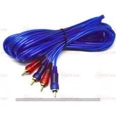 05-00-031. Шнур 2RCA - 2RCA (штекер-штекер), gold pin, прозрачно-синий, 3м