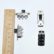 11-03-204. Переключатель движковый KBB70-2P2W (ON-ON), 6pin, 3A-250V