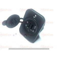 01-16-019. Гнездо автоприкуривателя USB двойное врезное 1А/2,1А, с индикатором и крышкой