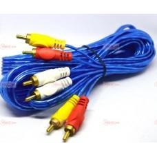05-00-075. Шнур 3RCA - 3RCA (штекер-штекер), gold pin, прозрачно-синий 1,5м