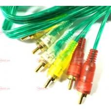 05-00-124. Шнур 3RCA - 3RCA (штекер-штекер), прозрачно-зеленый, 5м