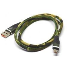 05-09-095. Шнур USB штекер А - штекер miсro USB, в тканевой оплетке, хаки, 1м