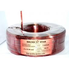 07-03-032. Кабель акустический 2х0,34мм², CCA, прозрачно-красно-чёрный, 100м