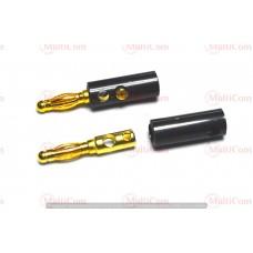 "01-04-020. Штекер акустический ""Banan"" под кабель, 4мм, gold pin, корпус пластик, под винт"
