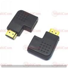 02-01-005. Переходник штекер HDMI - гнездо HDMI, угловой, горизонтальный, правый, gold pin