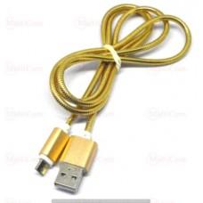 05-09-074GD. Шнур USB штекер А - штекер miсro USB, металическая оплетка, золотистый, 1м